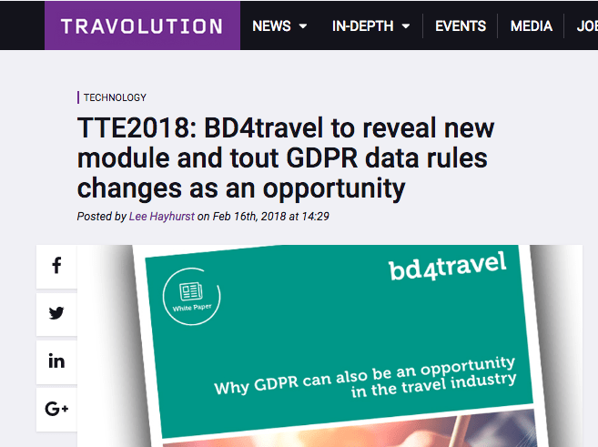 TTE2018: BD4travel to reveal new module and tout GDPR data rules changes as an opportunity