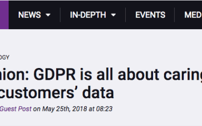GDPR is all about caring how we use our customers' data