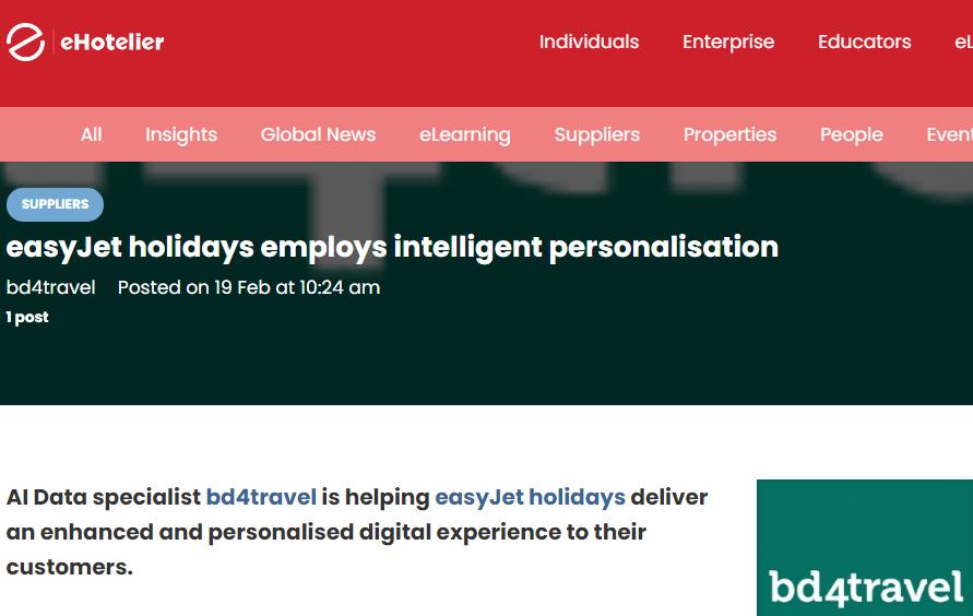 ehotelier: easyJet holidays employs intelligent personalisation
