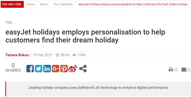 easyJet holidays employs personalisation